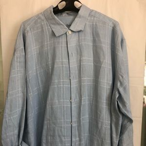 TOMMY BAHAMA Linen Blue Striped Long Sleeve
